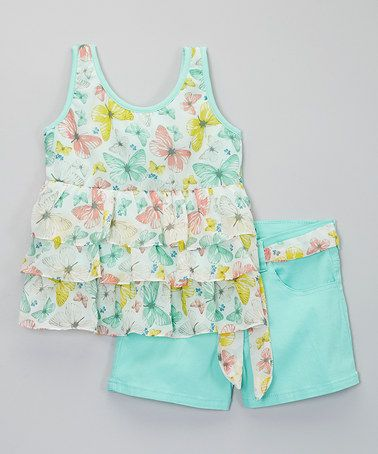 Look what I found on #zulily! Mint Butterfly Chiffon Tank & Shorts - Toddler & Girls #zulilyfinds