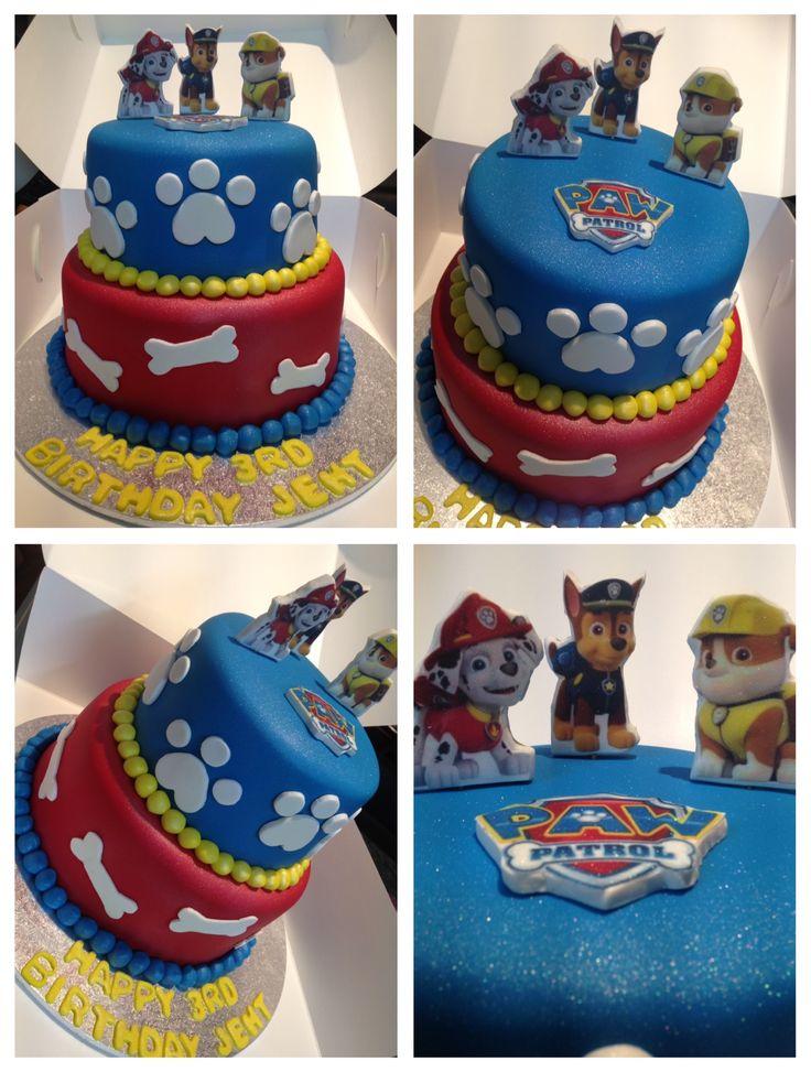 Paw patrol devils food chocolate cake 3rd birthday