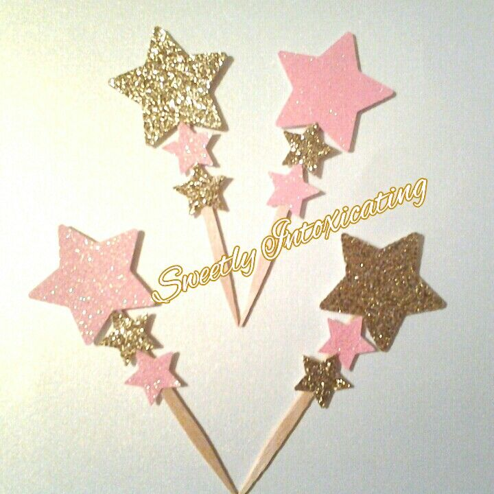 3btier pink and gold glitter cupcake topper and food picks at SweetlyIntoxicating@etsy.com