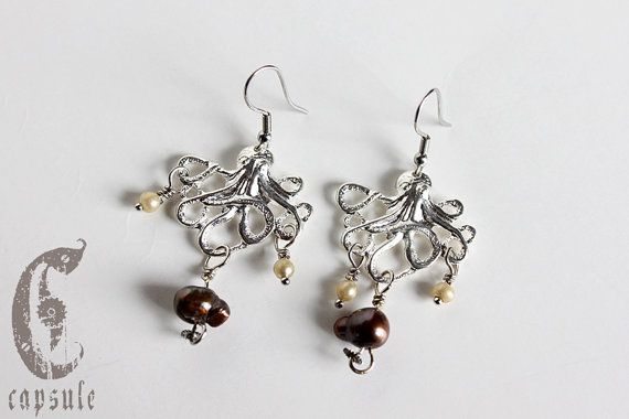 Steampunk Nautical Pirate Octopus Kraken Cthulhu Nautilus Squid Silver Earrings with Bronze Freshwater Pearls and Watch Cog