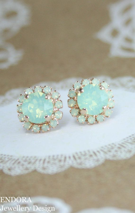 Mint opal crystal rose gold stud earrings | swarovski mint earrings | mint green wedding | mint wedding | bridesmaid earrings | bridal earrings | www.endorajewellery.etsy.com