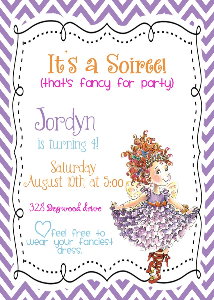 Custom digital DIY Fancy Nancy Birthday Party Invitation