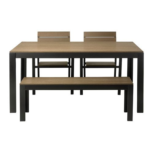 Falster table 2 chairs and bench outdoor black brown for Ikea falster
