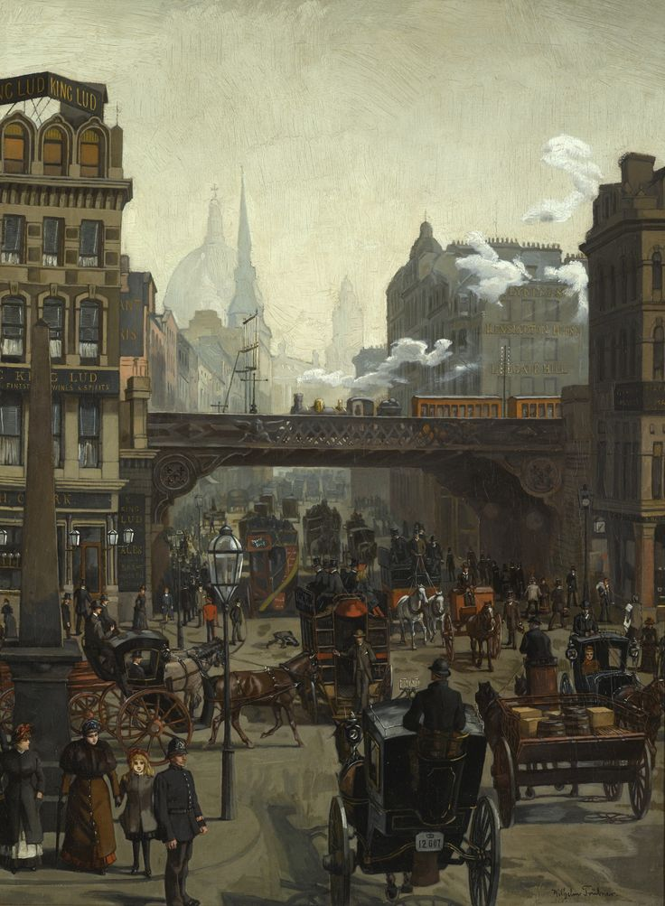 Wilhelm Trübner 1851 - 1917 GERMAN LUDGATE HILL, LONDON signed Wilhelm Trübner. lower right oil on canvas 64 by 47.5cm., 25½ by 18¾in.