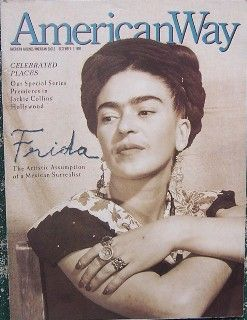 "American Way (the American Airlines magazine), December 1990 cover featuring a photo of Frida Kahlo with a 14-page article titled ""The Cult of Kahlo"" which included several Kahlo photos and paintings"