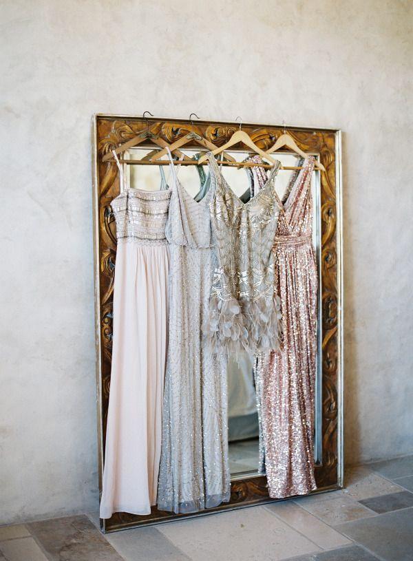 Sparkly bridesmaids' dresse