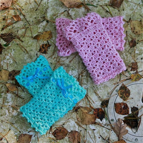 Colour makes such a difference!!!!! Crochet Wrist Warmers with Lace Edging PDF by PatternsbyMarianneS
