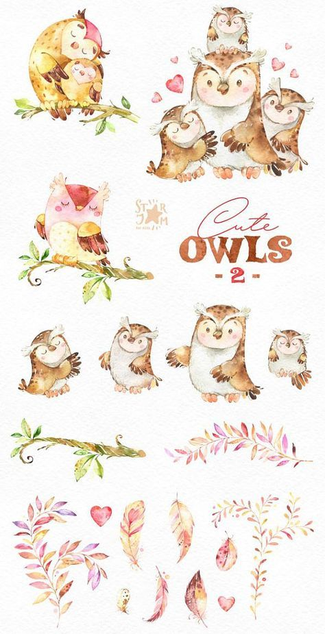 Cute Owls 2. Forest birds clip art, watercolor, wreath, florals, greeting, invite, babyshower, woodland, autumn, wild, kids, nice, planners