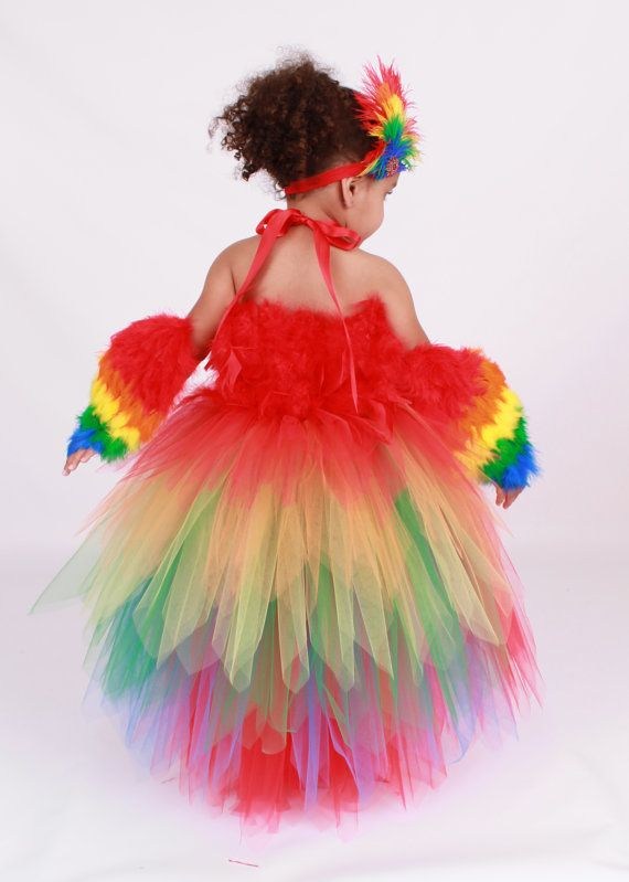 Tutu Dress - Paradise Parrot - Red & Rainbow -Scarlett Macaw Halloween Costume - 5-6 Youth Girl via Etsy
