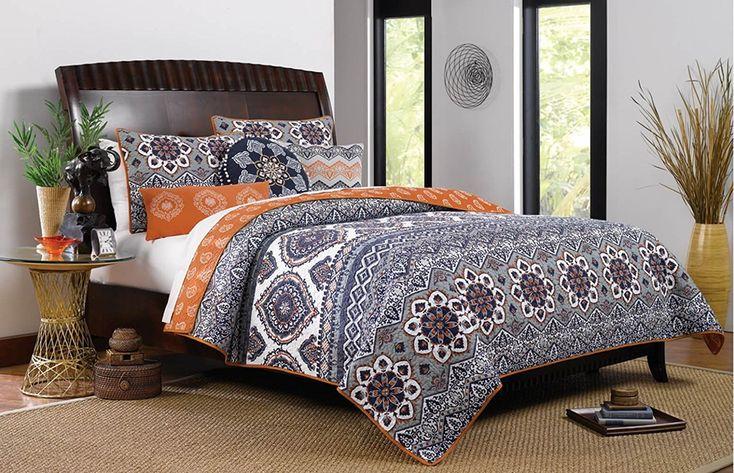 Boho Chic Moroccan Paisley Pattern Grey Orange Cotton 3 Piece Full/Queen Size Quilt Bedding Set