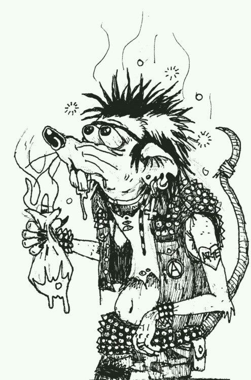 cartoon, rat, punk, messy, strange, black/white, grunge
