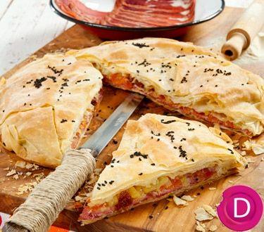 """Παστουρμαδόπιτα   Dina Nikolaou. Pastourma (a cured meat available at Greek and Middleastern markets) """"Pie"""""""