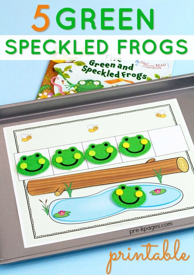 5 Speckled Frogs Counting Printable - a great way to work on simple counting skills with toddlers and preschoolers!