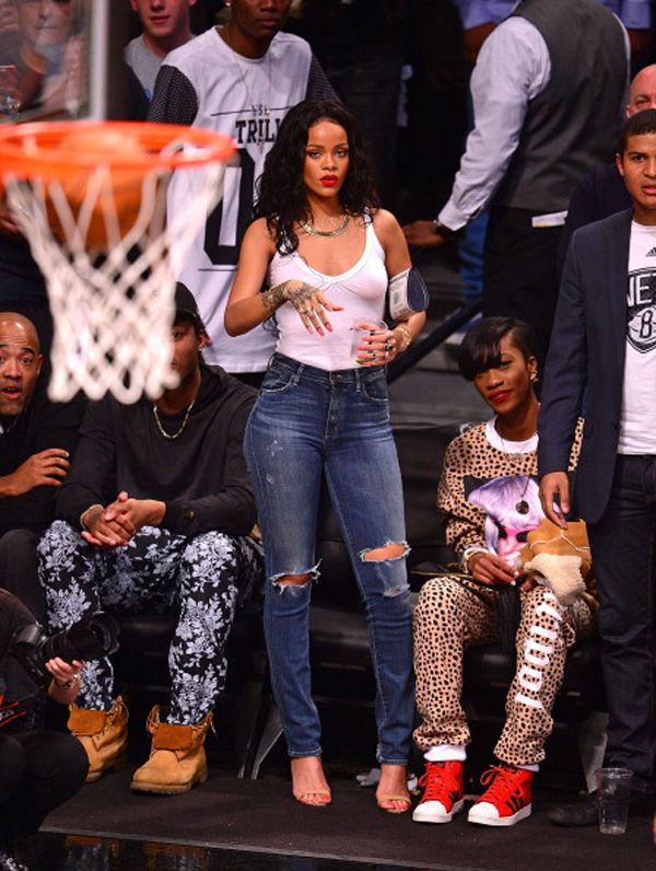 Rihanna Attends The Toronto Raptors  Vs Brooklyn Nets - April 25, 2014