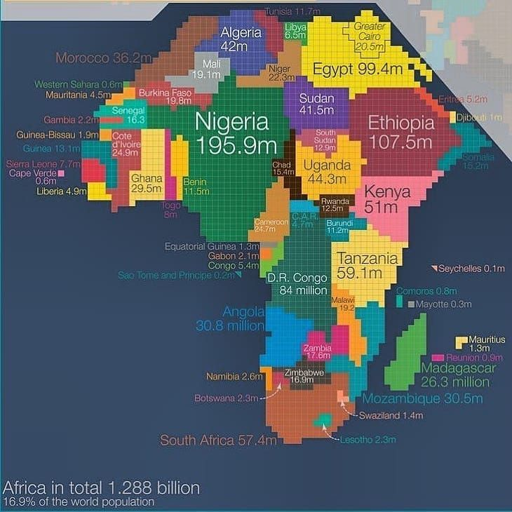 The Countrys Size In This Map Represents The Size Of The Population Each Square Represents 500000 The Countrys Size In This Map Represent Africa Map City Map
