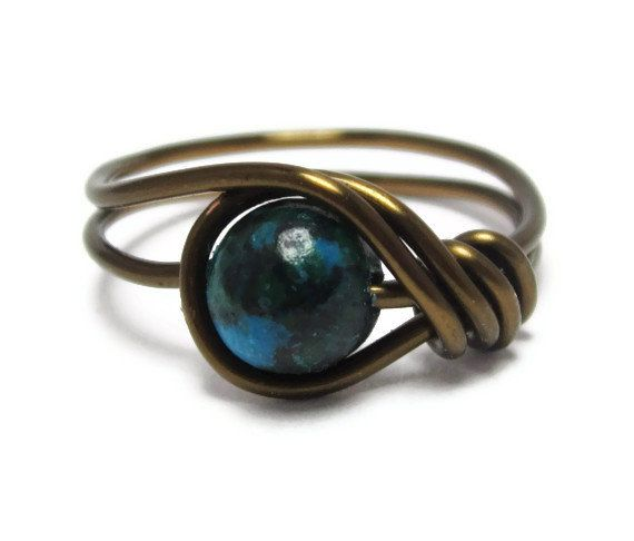 Gemstone Ring -  Green Jewelry -  Custom Size Wire Wrapped Rings. $10.00, via Etsy.