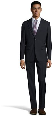 Prada Blue Virgin Wool 2-button Suit With Flat Front Pants