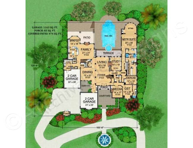 Royal Birkdale House Plan Mansion Floor Plan House Plans French Country House Plans
