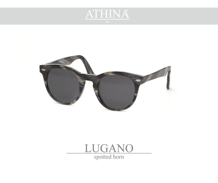 Mod. LUG0606S02 Called as the native city of Athinà Lux, Lugano is made with light blue exclusive acetate of cellulose andstandar grey lenses.