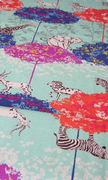 Echino Acacia - Aqua by Etsuko Furuya Japanese Cotton Linen
