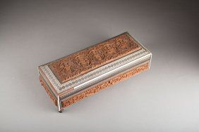 Antique Indian Wooden Box With Shell Inlaid.