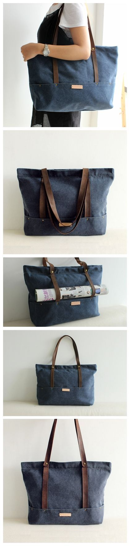 Handcrafted Waxed Canvas Tote Bag Diaper Bag Women's Fashion Handbag Shoulder Bag