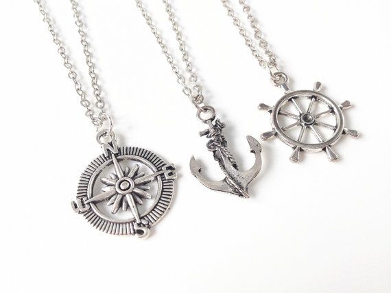 3 Anchor, Compass, Rudder Necklaces,3 Best Friend Necklace,Compass Necklace,Rudder Necklace,Friendship Jewelry,BFF Necklace for 3