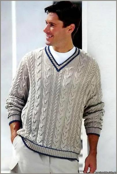 Модели мужских вязанных на спицах свитеров и полуверов