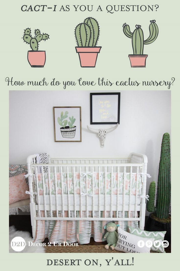 Cact-i as you a question? We totally swoon over this cactus motif inspired nursery bedding set. We love the colors of peach, grey, and green mixed together to create a sunrise setting. This cactus inspired baby bedding set is gender neutral and adds a trendy vibe to your nursery look. Desert on, babies!