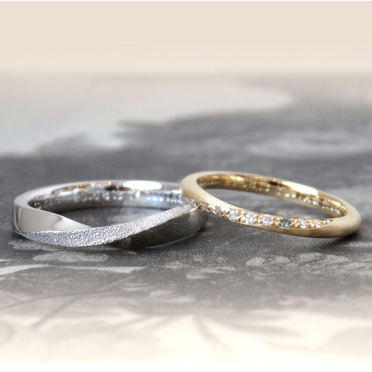 それぞれのツイストフォルム:ゴールドとプラチナの結婚指輪(オーダーメイド/手作り) marriage,ring,gold,pt900,diamond,ダイヤモンド,wedding,ウエディング