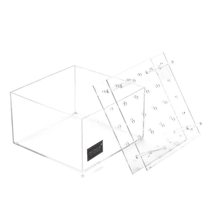 25 Agujeros Hechos A Mano de Encargo de Embalaje Sostenedor de la Caja de Regalo de la Exhibición Clara de Acrílico de La Flor Rosa Cajas Organizador de Maquillaje Caja de Cosméticos Con Tapa