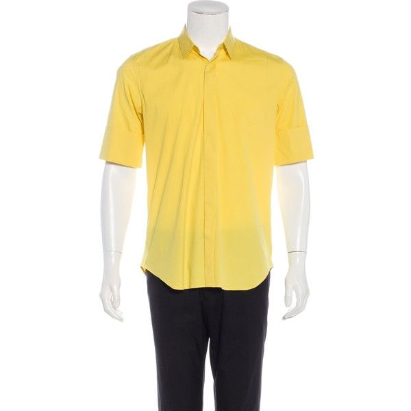 Pre-owned Jil Sander Short Sleeve Button-Up Shirt ($65) ❤ liked on Polyvore featuring men's fashion, men's clothing, men's shirts, men's casual shirts, yellow, mens yellow shirt, mens short sleeve button up shirts, mens yellow button up shirt, mens long sleeve button shirts and mens casual button down shirts