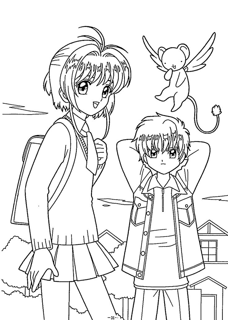 Sakura with friend coloring pages for kids, printable free