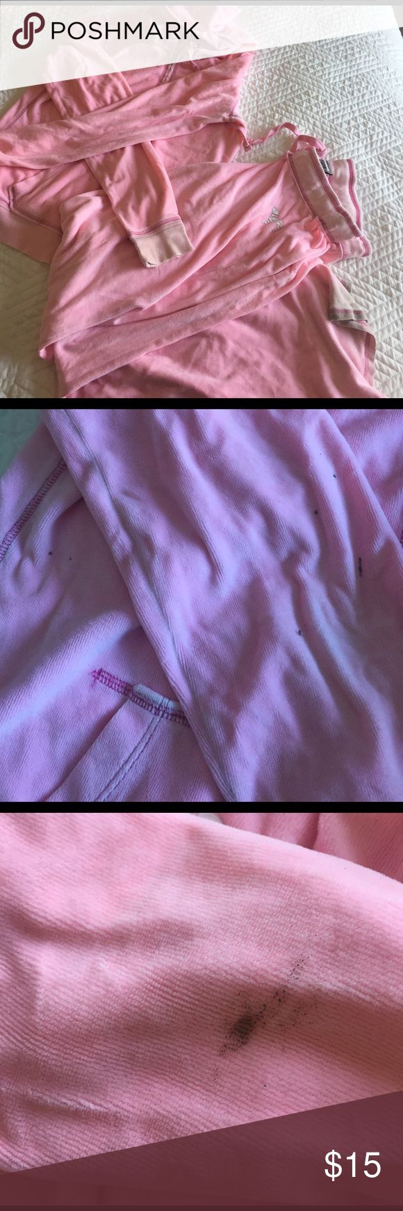 Jacket and sweat pants set These have been a lot. Very comfy. Some stains on jacket sleeves see pics. Haven't tried to remove them.Price adjusted accordingly PINK Victoria's Secret Pants
