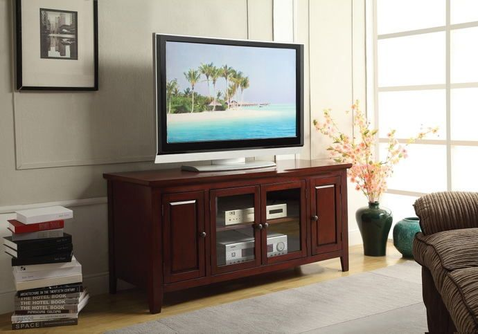 "Christella collection contemporary styled cherry finish wood TV stand with glass front cabinet .  Measures 55"" x 20"" x 26"" H.  Some assembly required."