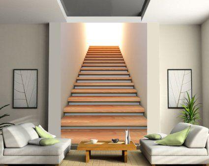 stickersnews sticker trompe l oeil g ant mont e d escalier dimensions 180x260cm d co. Black Bedroom Furniture Sets. Home Design Ideas
