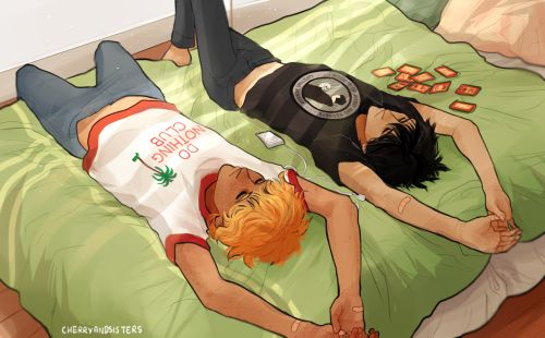 """cherryandsisters: """" I just wanted to practice poses, so I drew nico and will having a lazy day """""""