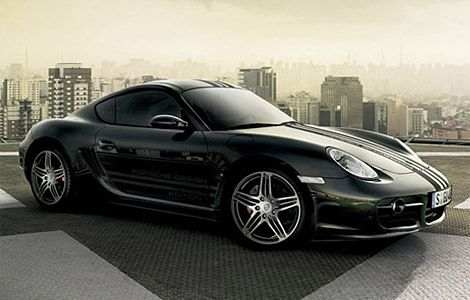 The Porsche Cayman S Porsche Design Edition 1 is a limited edition (only 777 are being made) black beauty, featuring a triple racing stripe, blacked out interior, 19-inch wheels, and a lower stance. The 295-hp ride also comes with a briefcase containing Porsche Design's Flat Six Chronograph watch, a pocket knife, a pair of sunglasses, a pen, and a key ring.