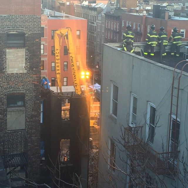 xxxjordyxxx The view from the roof of my building. You can see what's left of the buildings that fell. I'm two buildings away. #eastvillage #gas #explosion