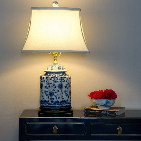 a traditional blue u0026 white porcelain oriental table lamp with white shade the pretty blue u0026 white decorative pattern is repeated on the ceramic ball which