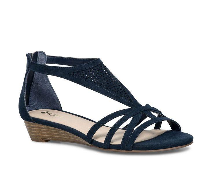 Sandale compensée strass bleue - Sandales talon - Chaussures femme