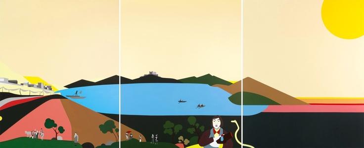 """Gaudì disse che """"l'originalità consiste nel tornare alle origini"""" e questa grande opera dell'eccellente pittrice abruzzese è in effetti molto originale. Ester Grossi, Fucinus Lacus. Acrilico e smalto su tela, polittico 100x240cm, 2012. Collezione privata."""