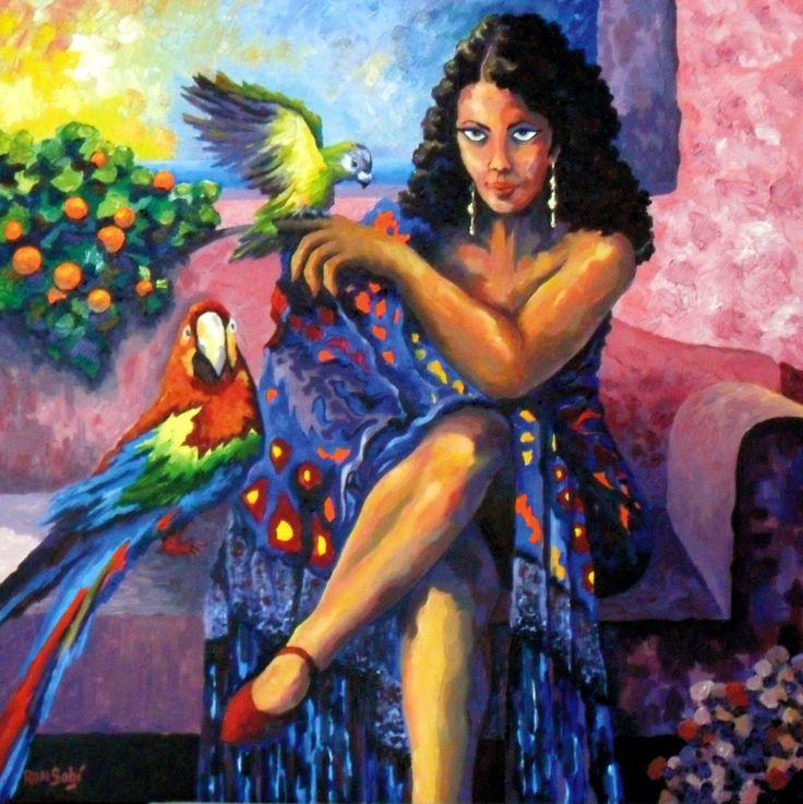 # 359 Gitanilla hermosa, reina de los pajaritos,   Autor: RomSabi, acrilico sobre tabla madera, 60x60cm