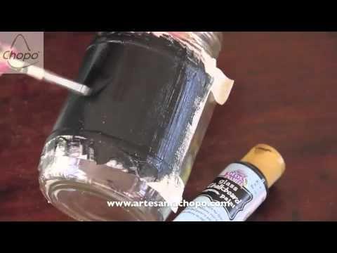 Video cómo persoalizar botes de cristal con pintura tiza chalky board