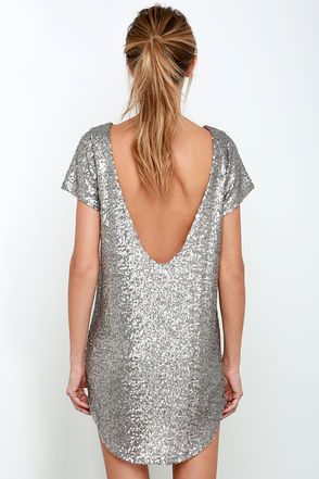 Amuse Society Midnight Dress - Silver Sequin Dress - Backless Dress - $132.00