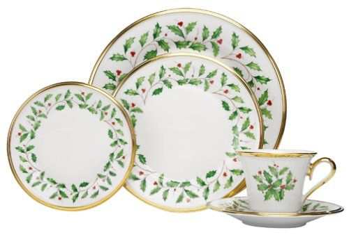 "Lenox Holiday 10.5"" D Dinner plate, 8"" D Salad plate, 6.5"" D Butter Plate, 6"" D Saucer, 6 oz Cup   Created of Bone China and Accented with 24K Gold   Dishwasher Safe. Not Microwave Safe   Made in the USA  Supported by the Lenox Lifetime Breakage Replacement Program You can look here and buy."
