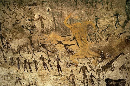 From the Cave of Swimmers, (Sahara Desert, Egypt) images of people swimming. They are estimated to have been created 10,000 years ago during the time of the most recent Ice Age. These were the paintings in The English Patient.
