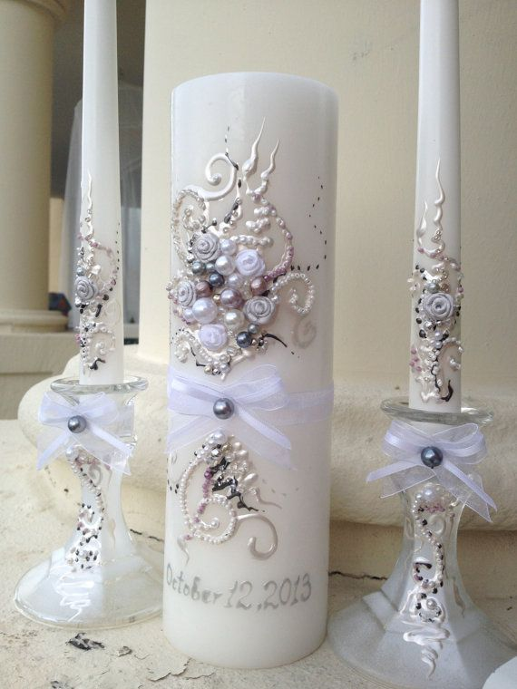 Beautiful wedding unity candle set - 3 candles and 2 candleholders - in white, lavender, dark grey and silver