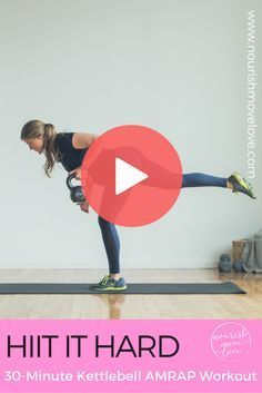 Home or gym, this 30 minute kettlebell workout will give you a total body sweat! See the website for full workout + video. Challenge yourself and use a heavy kettlebell or dumbbell. Burpee thruster, overhead press, deadlift, kettlebell swings, lung, squat jacks, upright rows for a full body workout.