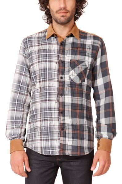 Desigual men's Piña shirt. Check print on the collar, shoulders and corduroy detailing on the cuffs. Super cool!